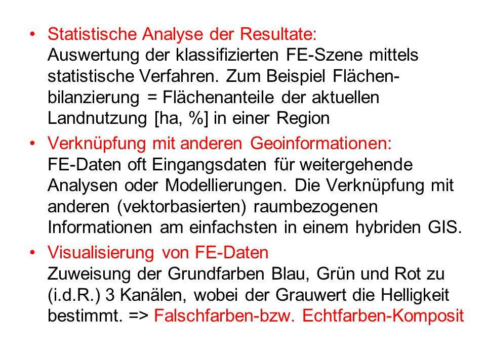 Statistische Analyse der Resultate: Auswertung der klassifizierten FE-Szene mittels statistische Verfahren. Zum Beispiel Flächen-bilanzierung = Flächenanteile der aktuellen Landnutzung [ha, %] in einer Region